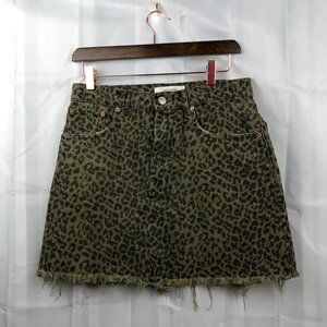 Zara Cheetah Print Raw Hem Green Skirt